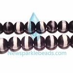 AG-BW12 , Beads ,10mm  round black & white agate